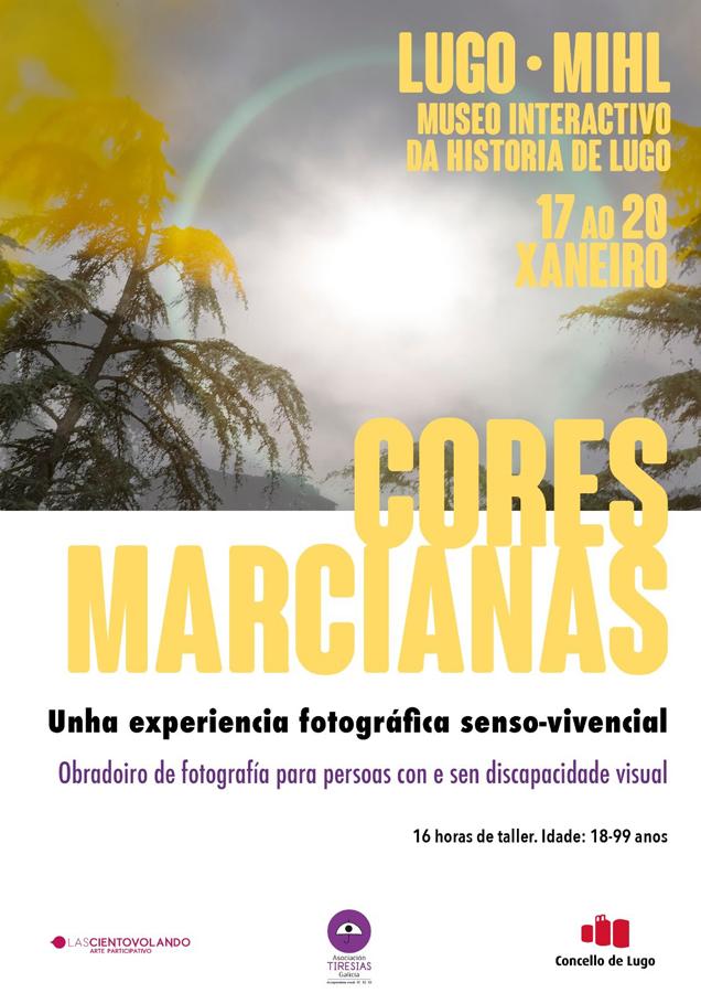 """Cartel do taller de fotografía """"Cores Marcianas"""" en Lugo"""