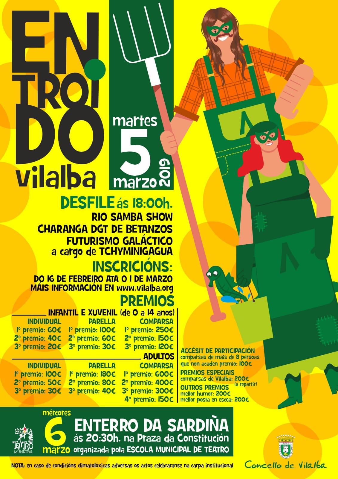 Entroido en Vilalba: desfile e enterro da sardiña