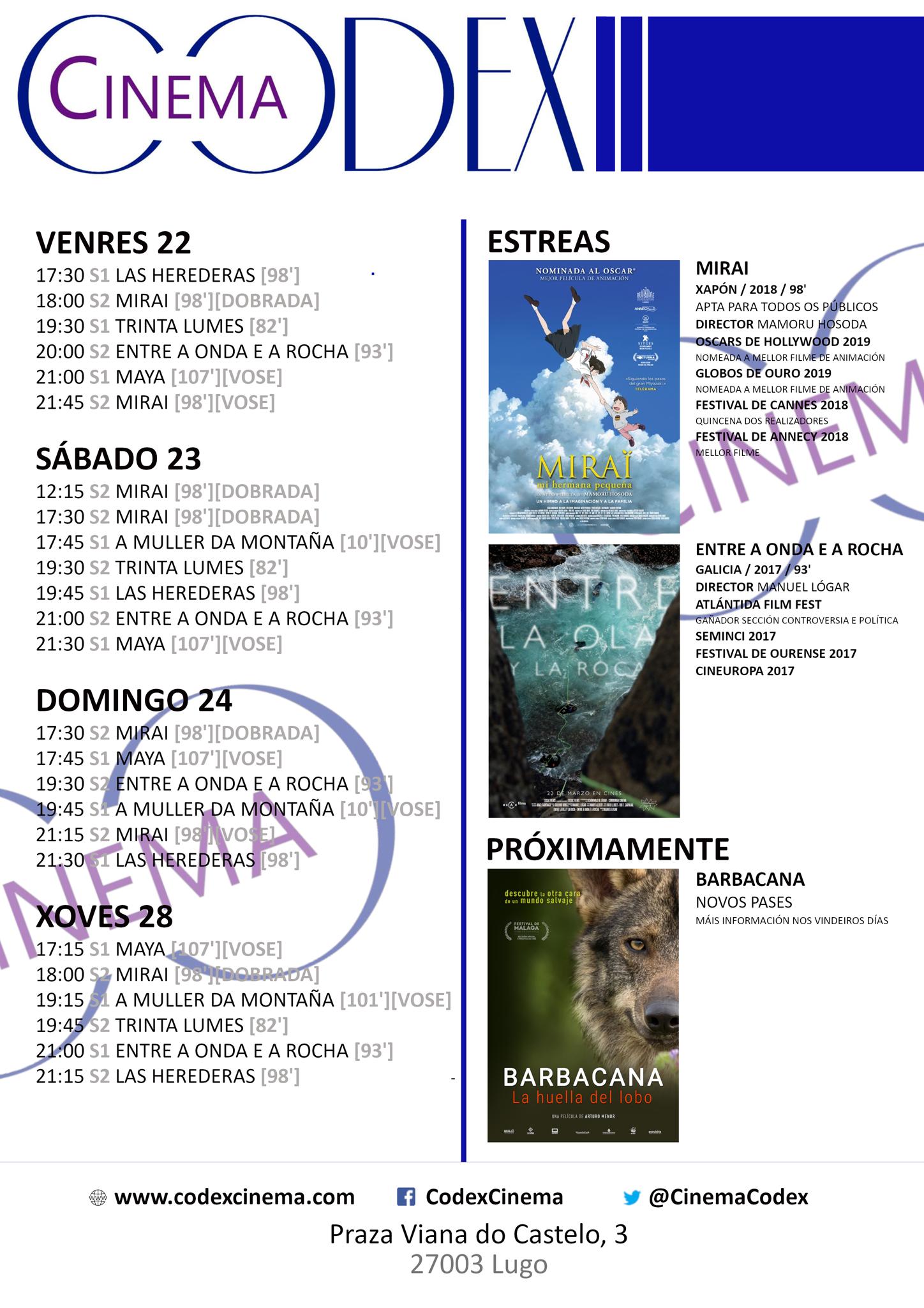 Películas en el Codex Cinema del 22 al 28 de marzo